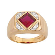 Mens Lab-Created Ruby & White Sapphire 14K Gold Over Silver Ring