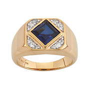 Mens Lab-Created Blue And White Sapphire 14K Gold Over Silver Ring