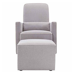 Davinci Olive Upholstered Swivel Glider and Ottoman