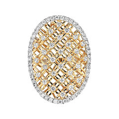 LIMITED QUANTITIES 1-1/10 CT. T.W. Diamond 14K Two-Tone Gold Shield Ring