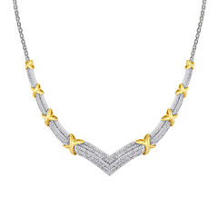 1/2 CT. T.W. Diamond Two-Tone X Necklace