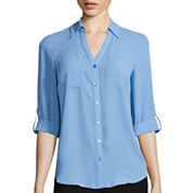 by&by 3/4-Sleeve Solid Button-Front Shirt