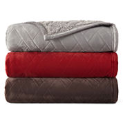 JCPenney Home™ Quilted Pinsonic Faux Mink to Sherpa Throw