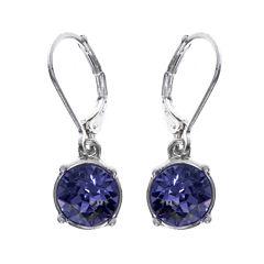 Gloria Vanderbilt® Purple Crystal Silver-Tone Drop Earrings
