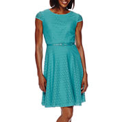 R&K Originals® Short-Sleeve Belted Lace Fit-and-Flare Dress