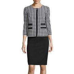 R&K Originals® 3/4-Sleeve Houndstooth Print Jacket & Skirt Suit Set