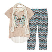 Knit Works® Short-Sleeve Top and Leggings Set with Scarf and Necklace - Girls 7-16 and Plus