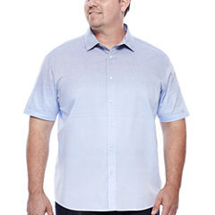 Claiborne® Short-Sleeve Ombre Woven Button-Front Cotton Shirt - Big & Tall