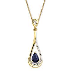 Blue Sapphire & Diamond-Accent 10K Gold Pendant Necklace