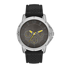 Mens Rubber Strap Faux Subdial Watch