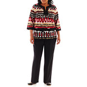 Alfred Dunner® Belize Ikat Biadere Lace Blouse or Classic Pull-On Pants - Plus