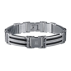 Mens 1/10 CT. T.W. Diamond Stainless Steel & Black IP Cable Bracelet