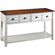 Carriage House Distressed 4-Drawer Console Table