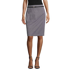 Worthington Sateen Belted Pencil Skirt Talls