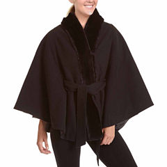 Excelled Leather Belted Swing Coat-Plus