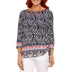 Lark Lane Lark Fashion 3/4 Sleeve Boat Neck T-Shirt