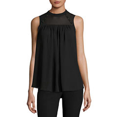 Worthington Sleeveless Mock Neck Georgette Blouse