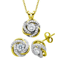 Diamonart Womens 2-pc. White Cubic Zirconia Gold Over Silver Jewelry Set