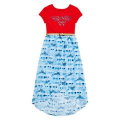 Scoop Neck Short Sleeve Fitted Sleeve Wonder Woman Blouse - Big Kid Girls
