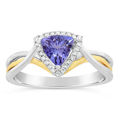 Womens 1/10 CT. T.W. Blue Tanzanite 10K Gold Crossover Ring