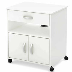 South Shore Axess Microwave Wood-Top Kitchen Cart