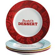 Cake Boss™ Set of 4 Porcelain Dessert Plates - Patterns & Quotes