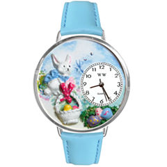 Whimsical Watches Personalized Easter Egg Womens Silver-Tone Bezel Light Blue Leather Strap Watch
