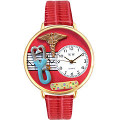 Whimsical Watches Personalized Nurse Womens Gold–Tone Bezel Red Leather Strap Watch