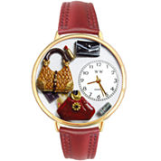 Whimsical Watches Personalized Purse Lover Womens Gold-Tone Bezel Red Leather Strap Watch