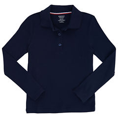 French Toast Long Sleeve Interlock Polo With Picot Collar Long Sleeve Solid Polo Shirt - Big Kid Girls
