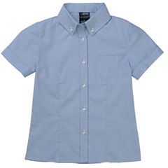 French Toast Short Sleeve Button-Down Oxford With Darts Wrinkle Resistant Short Sleeve Blouse - Big Kid Girls