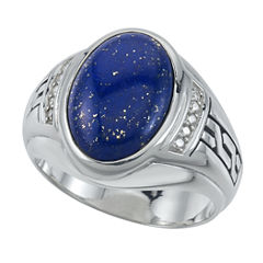 Mens Blue Lapis Sterling Silver Cocktail Ring