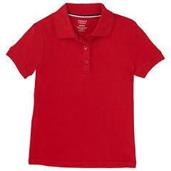 French Toast Short Sleeve Interlock Polo With Picot Collar Short Sleeve Polo Shirt - Preschool Girls