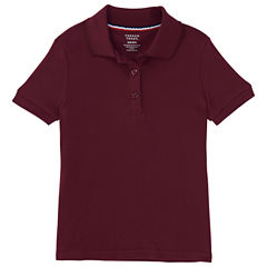 French Toast Short Sleeve Interlock Polo With Picot Collar Short Sleeve Polo Shirt - Big Kid Girls