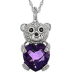 Heart-Shaped Lab-Created Amethyst Teddy Bear Pendant Necklace