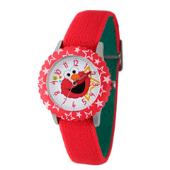 Sesame Street Red Elmo Face Time Teacher Strap Watch W003173