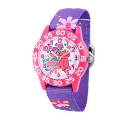 Sesame Street Girls Purple Flower Friends Time Teacher Strap Watch W003193