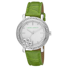 Laura Ashley Ladies Green Floral Stone Bezel Watch La31013Gr