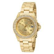 Invicta® Womens Gold Tone Gold Dial Stainless Steel Angel Bracelet Watch 19513