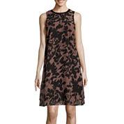 SL Fashions Leaf-Print Faux-Leather-Trim Chiffon Shift Dress
