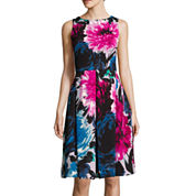 Danny & Nicole® Sleeveless Exploded Floral Fit-and-Flare Dress