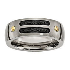 Mens 8mm Titanium Black & Yellow Ion-Plated Wedding Band
