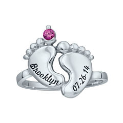 Personalized Simulated Birthstone Engraved Baby Feet Ring