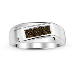 mens 18 ct tw color enhanced champagne diamond sterling silver ring - Jcpenney Mens Wedding Rings