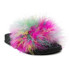 Olivia Miller Kate Marabou Girls Slide Sandals - Little Kids