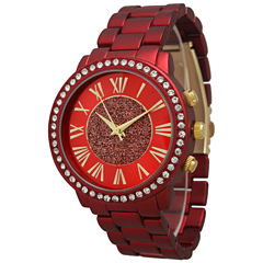 Olivia Pratt Womens Rhinestone Accent Red Bracelet Watch 13839
