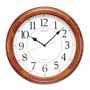 Seiko® White Dial Dark Brown Solid Oak Decorative Wall Clock Qxa129Blh