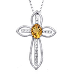 Womens Orange Citrine Sterling Silver Pendant Necklace