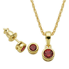 Girls 2-pc. Lab Created Ruby 18K Gold Over Silver Jewelry Set