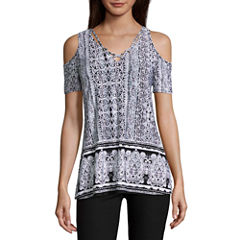 by&by Short Sleeve U Neck Knit Blouse-Juniors